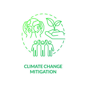 Climate change mitigation concept icon. Organic waste reduction benefit idea thin line illustration. Global warming rate. Long-term risks prevention. Vector isolated outline RGB color drawing