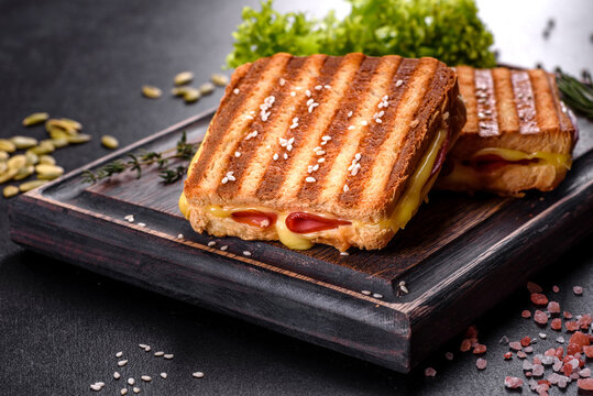 Delicious fresh toast grill with cheese and ham