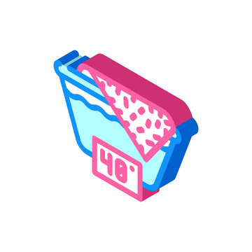 wash up to 40 degrees isometric icon vector illustration