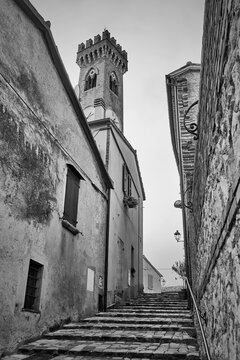 Old street with staits in Santarcangelo di Romagna