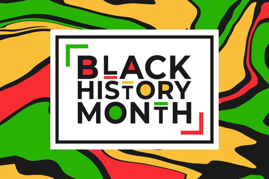 Black History Month banner template with colorful liquid paint effect background. Vector illustration for national holiday poster or card