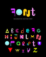 Decorative font vector design. Colored abstract font design isolated on a black backgrounds.