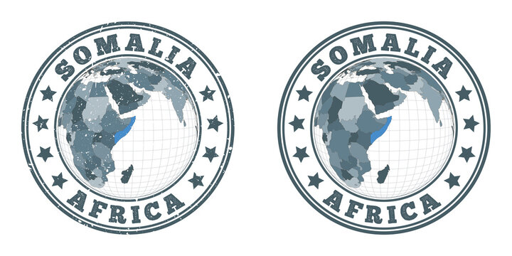 Somalia round logos. Circular badges of country with map of Somalia in world context. Plain and textured country stamps. Vector illustration.