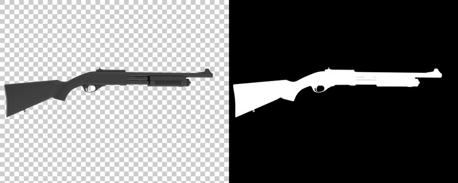 Shotgun isolated on background with mask. 3d rendering - illustration