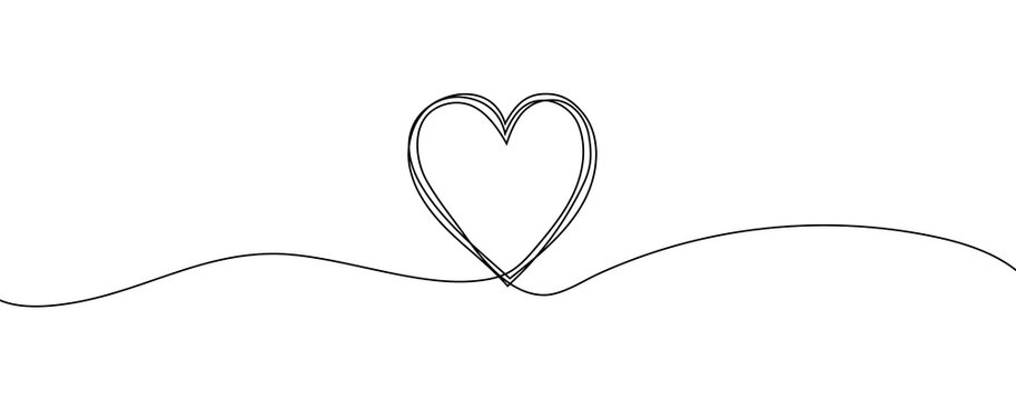 Heart sketch doodle, hand drawn heart. Vector illustration isolated on white background. Valentine's Day. Love Line