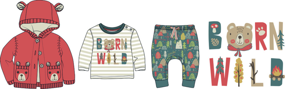 Collection of nature and camping themed clothes for babies. Cardigan, t shirt, pants set. Nordic style baby clothing design
