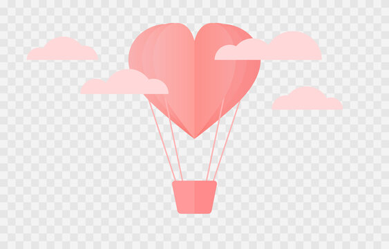 Vector balloon made from paper hearts. Heart confetti. Balloon png, confetti png. Valentine's Day.