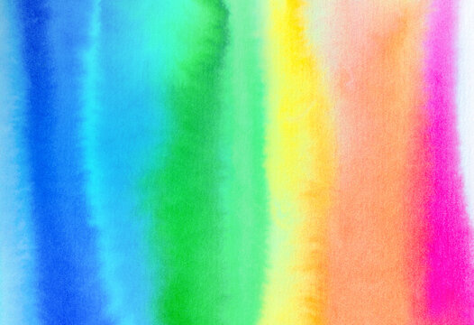 Watercolor background of bright rainbow gradient with artistic brush strokes. Beautiful backdrop for creative design, poster, wallpaper, banner, print, positive card, frame. Hand painted illustration.