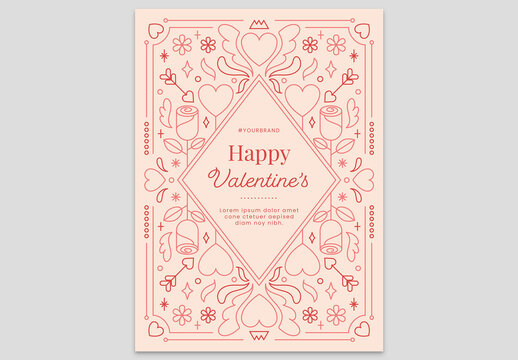 Peach Valentine's Day Card Flyer with Crown Heart Flower Rose and Cupid Arrow