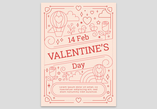 Peach Valentine's Day Card Flyer with Balloon Bird Rose in the Sky and Heart