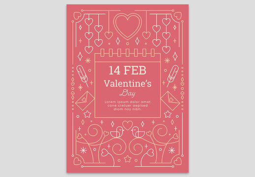 Pink Valentine's Day Card Flyer with Hearts Envelope Love Birds Feather and Calendar