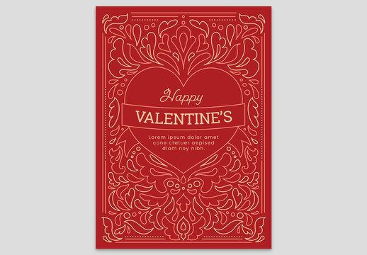 Red Valentine's Day Card Flyer Red Heart with Floral Pattern