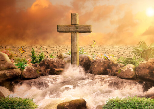 Cross of Jesus Christ, Son of God, in the Oasis spouting water for eternal life