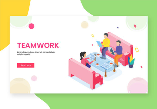 Responsive Landing Page with Business People in Meeting Room for Teamwork Concept Based Isometric Design.