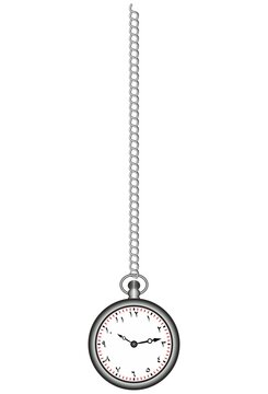 Pocket watch with chain 3d vector icon isolated on white background, vertical design, Arabic numbers