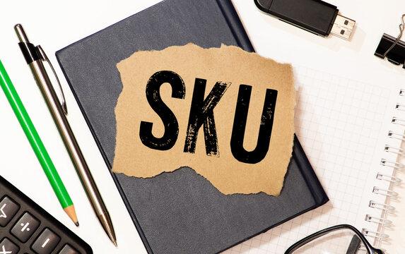 SKU word acronym inscription, stock keeping unit concept