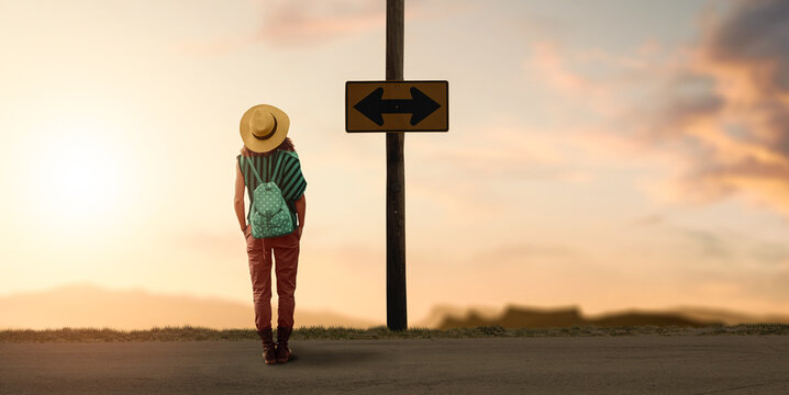 a backpacker woman traveler wondering for a way to go.