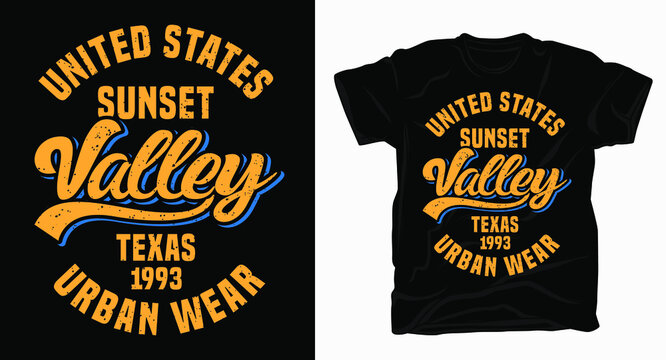 united states sunset valley texas typography design t-shirt
