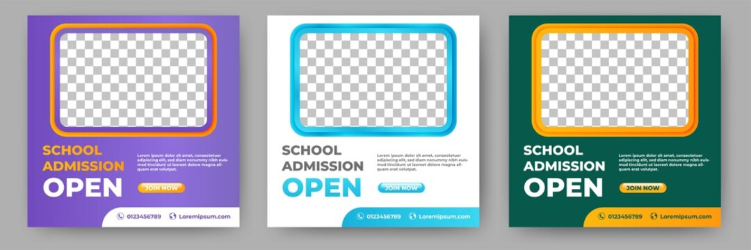 Set of Editable school admission promotion banner. Banner design with a green, white, and purple color background. Suitable for social media, banners, and web internet ads.