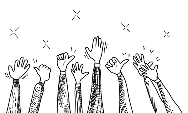 hand drawn of hands clapping ovation. applause, thumbs up gesture on doodle style , vector illustration
