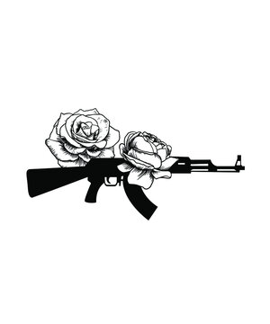 Ak47 Tattoo design with beautiful Rose flowers.