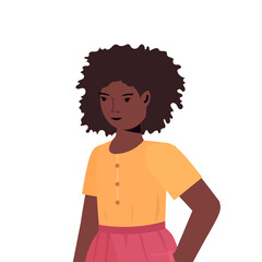 Wall Mural - african american child little girl in casual trendy clothes female cartoon character portrait isolated vector illustration