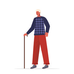 Wall Mural - old man in casual trendy clothes with cane senior male cartoon character standing pose gray haired grandfather full length vector illustration