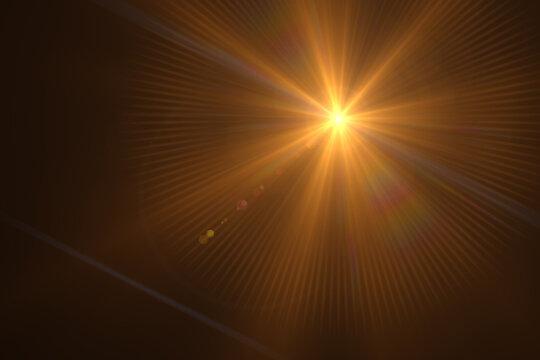 Beautiful optical lens flare effect Golden sun light