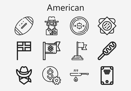 Premium set of american [S] icons. Simple american icon pack. Stroke vector illustration on a white background. Modern outline style icons collection of Sandwich, Fried, Dollar, Hot dog, Cowboy