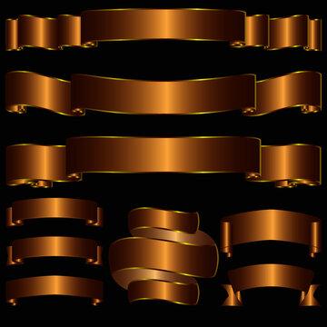 Ribbon tape golden bow vector