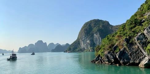Fototapeta Scenic View Of Rocks In Sea Against Clear Sky obraz