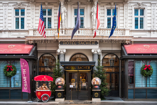 Vienna, Austria - Decembter 19 2020: Hotel Entrance, famous for its chocolate cake.