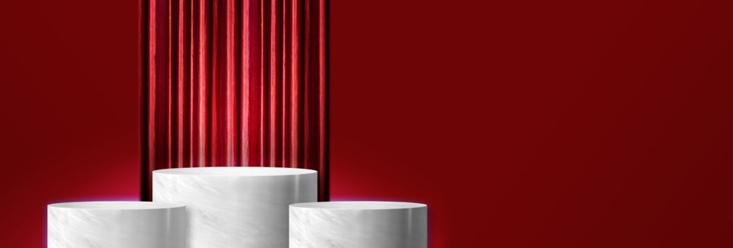 Product display glossy white marble cylinder stand winner podium in three step with red curtain and red wall background.Banner mockup space for display of product design.3d rendering
