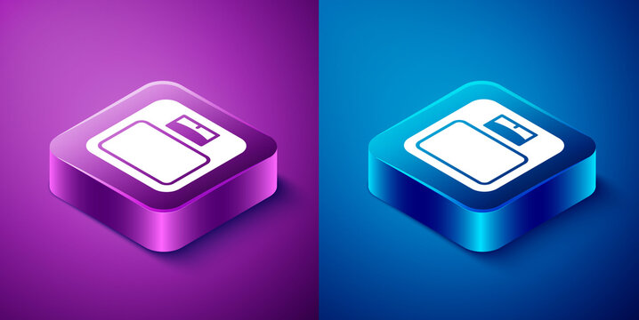 Isometric Bathroom scales icon isolated on blue and purple background. Weight measure Equipment. Weight Scale fitness sport concept. Square button. Vector.