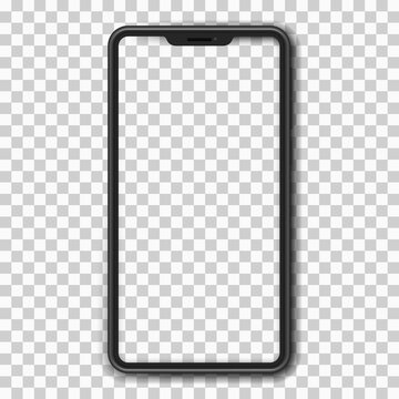 Smartphone with blank screen on a transparent light background. UI and UX. Dark mobile phone wireframe with buttons. Technological innovation element. Vector illustration.