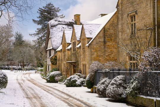 Wintertime at the Cotswold village of Stanton, Gloucestershire, England