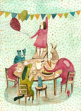 A girl having a tea party with colorful animals