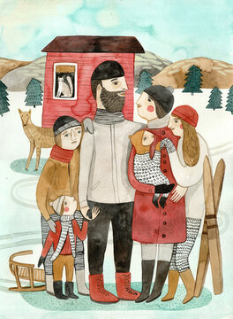A family standing by a mountain house, surrounded with snow and mountains