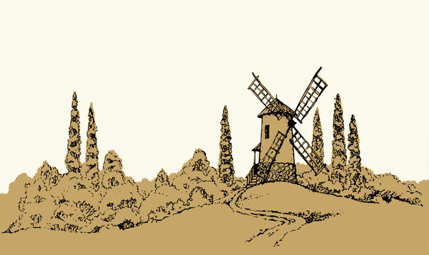 Vector drawing. The outline of the summer landscape with mill