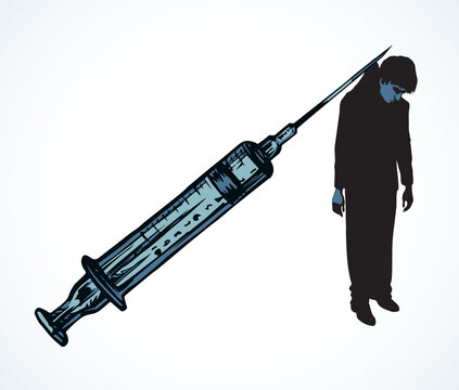 Vector poster against drug abuse: a man caught in a syringe needle