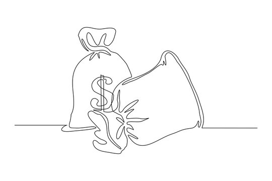 Continuous line drawing of money bag. Single one line art of finance bank money storage and investment. Vector illustration