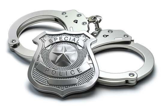 Special police badge and handcuffs isolated on white background. Law enforcement amd security.