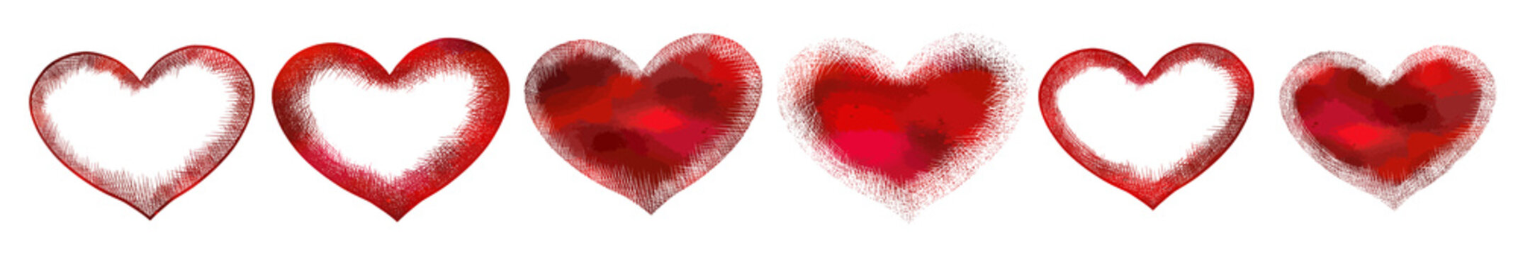 Set of red hearts. Vector illustration. For logo, icons, tattoo. Happy Valentine's Day.
