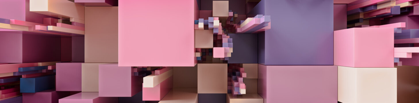 Multicolored 3D Block background. Tech Wallpaper with Pink and Purple hues. 3D Render