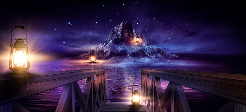 Night seascape, fantasy island with lanterns and a wooden pier by the sea. Evening Shore, beach party. Neon blue sunset, reflection of neon in the water.