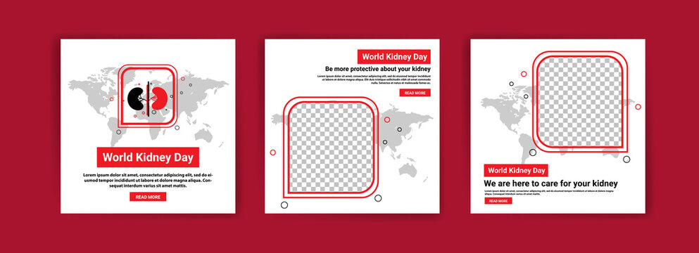 Collection of social media posts for world kidney day. Education to maintain kidney health. Education about the dangers of kidney disease.