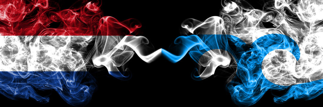 Netherlands vs United States of America, America, US, USA, American, Ocean City, Maryland smoky mystic flags placed side by side. Thick colored silky abstract smoke flags.