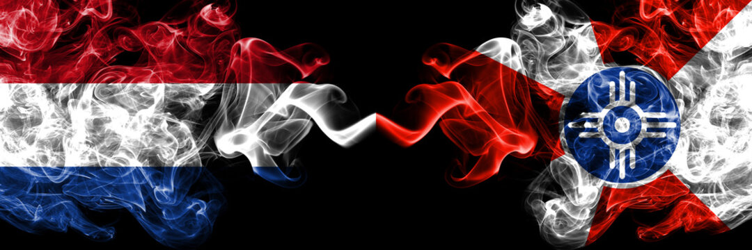 Netherlands vs United States of America, America, US, USA, American, Wichita, Kansas smoky mystic flags placed side by side. Thick colored silky abstract smoke flags.