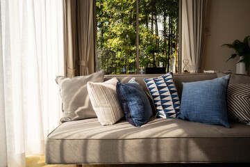Fototapeta Cushions On Sofa At Home obraz