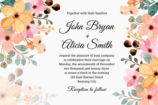 Wedding invitation card with pastel pink and yellow watercolor flowers